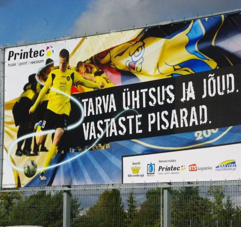 JK Tarvas banner ja bussikleebis